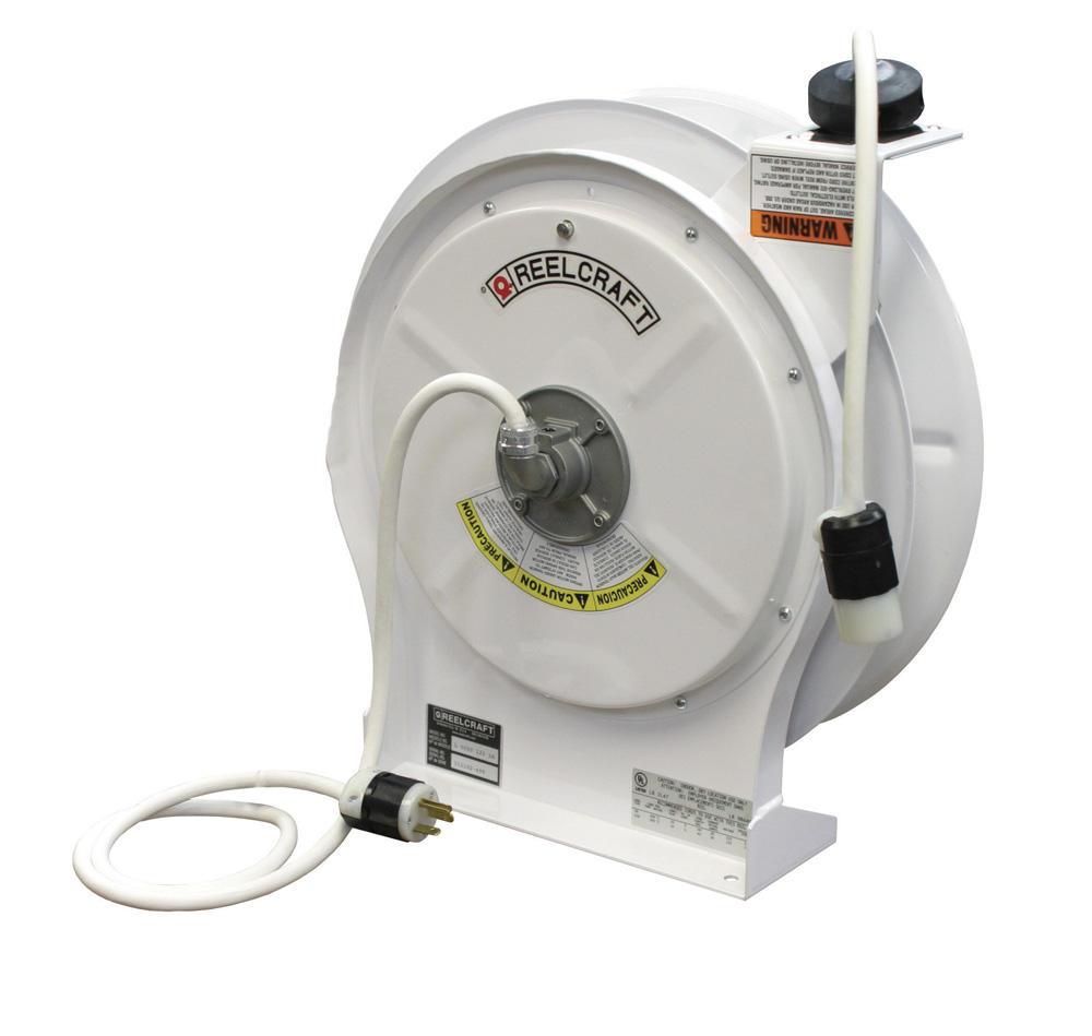 Reelcraft L-5550-123-3-17WH-WC White Power Cord Reel, 50ft 15amp 12 ...