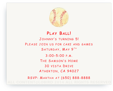 Baseball - Invitations