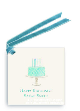 beaded birthday cake - Turquoise gift tags