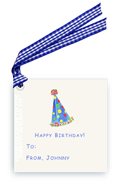 Blue-Polka Dot Party Hat - Gift Tags