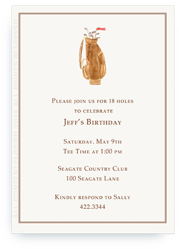 Brown Leather Golf Bag - Invitations