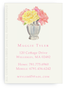Calling Cards - Silver Vase with Fresh Cut Roses