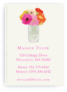 Calling cards- vase of gerber daisies
