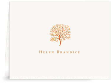 Coral Fan - Orange - Folded Note Cards