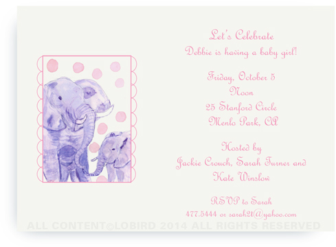 Elephant Mother and Child - 5x7 invitations