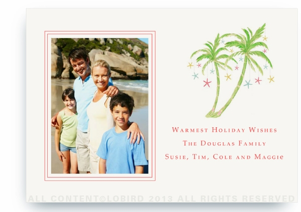Flat Holiday Photo Card- portrait photo- Holiday palm 2