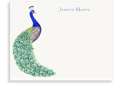 Flat Note cards - peacock