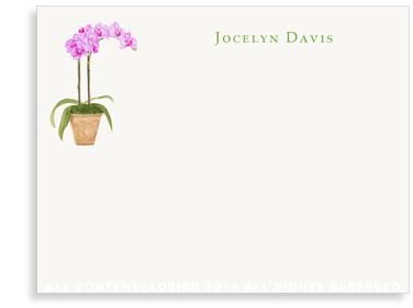 Flat Note cards- purple orchid