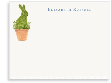 Flat Note Cards - Rabbit Topiary
