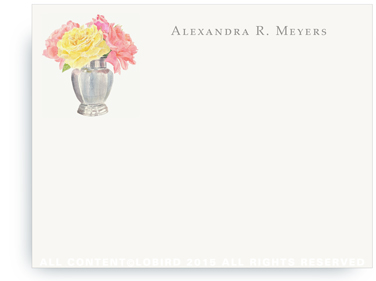 Flat note cards - Silver vase with fresh cut roses