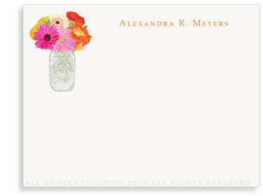 Flat Note cards - Vase with Gerber Daisies
