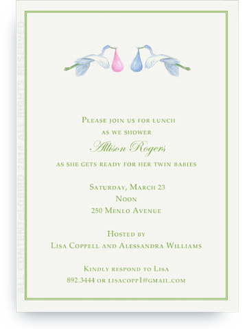 Flying Blue and Pink Storks - Invitation
