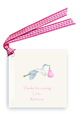 Flying Pink Stork - Gift Tags