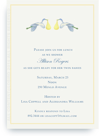 Flying Yellow Storks - Invitations