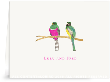 Folded Note Cards - Bird pair - Pink and green