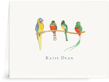 Folded Note Cards - Birds on a branch