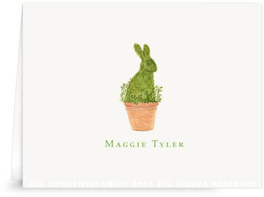 Folded Note cards - Rabbit Topiary