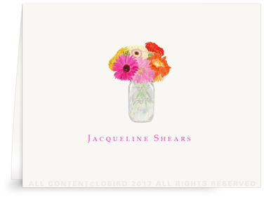 Folded Note Cards - vase of Gerber Daisies