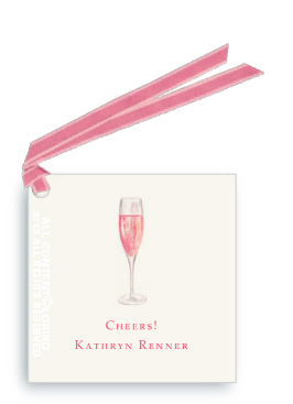Gift Tags- Glass of Champagne Rose