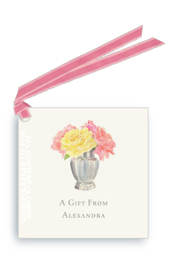 Gift tags - Silver vase with fresh cut roses