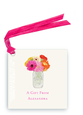 Gift Tags- vase of gerber daiseis
