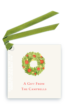 Gift Tags with ribbon - Pomegranate Wreath