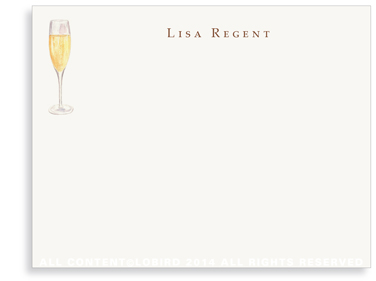 Glass of Champagne - Flat Note Cards
