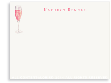 Glass of Champagne Rosé - Flat Note Cards