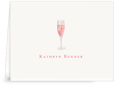 Glass of Champagne Rosé - Folded Note Cards