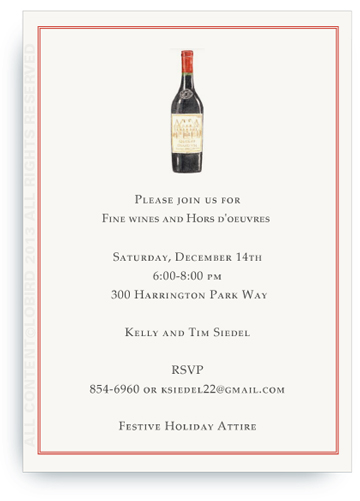 Invitation - Bottle Vintage Red Wine
