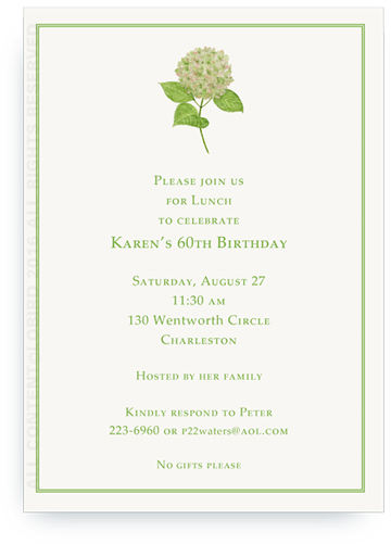 Invitation - Green Hydrangea