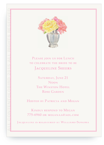 Invitation - Silver Vase with Fresh Cut Roses