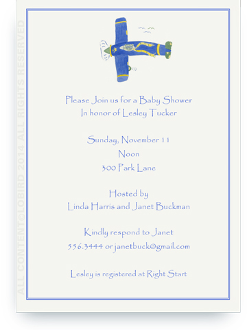 Lion Flying Plane- 5 x 7 Invitations
