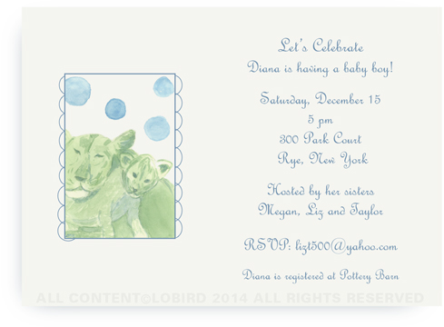 Lion mother and child - 5x7 invitations