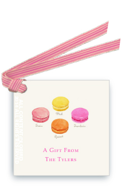 Macaron - bright gift tags and favor tags with ribbon