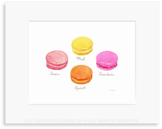 macaron - bright original watercolor art print