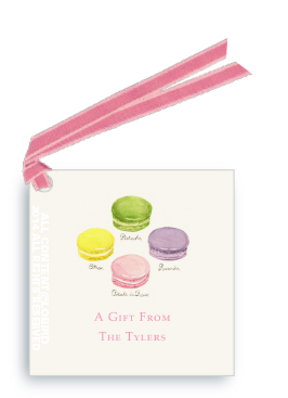 Macaron- Pastel gift tags and favor tags with ribbon