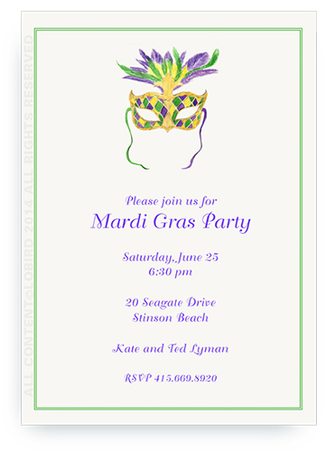 Mardi Gras Mask - Invitations