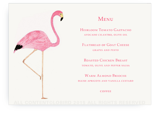 menu card- flamingo