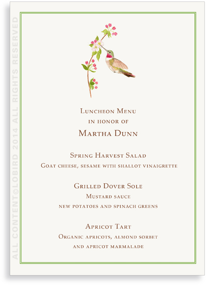 Menu Card - Hummingbird
