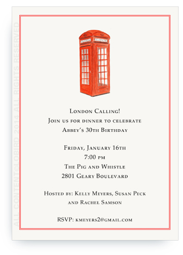 Menu card - London Phone Booth