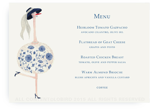 menu card - Ostrich Ella