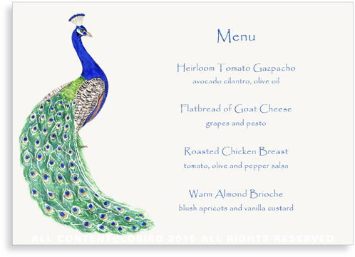 menu card - peacock