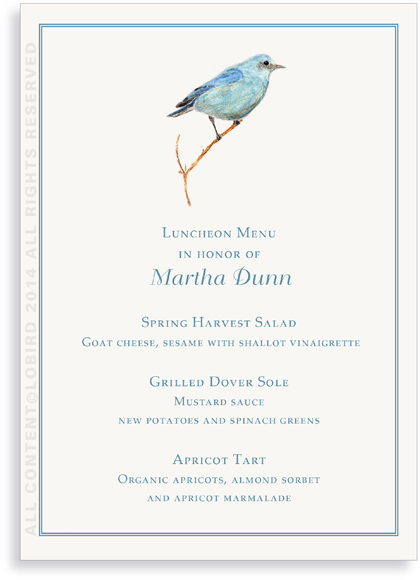 Menu Cards- Mountain Blue Bird