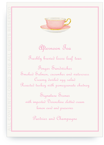 menu cards- pink tea cup