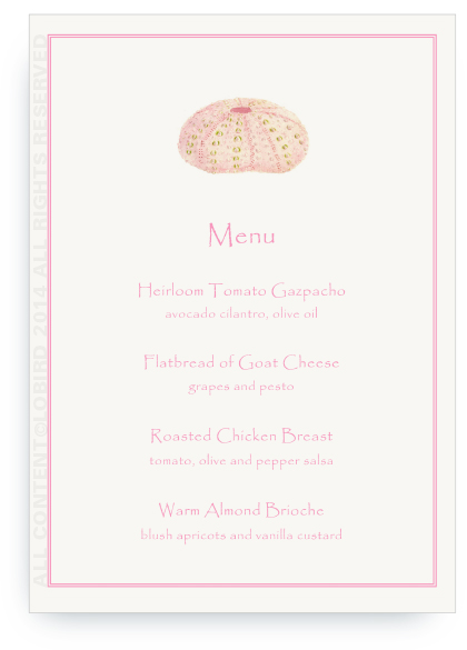 Menu - Pink Sea Urchin