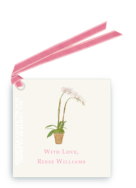 orchid - white gift tags and favor tags with ribbon