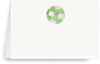 pink/green soccer ball - place cards