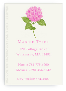 Pink Hydrangea Calling Cards