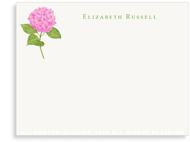 Pink Hydrangea Flat Note Cards